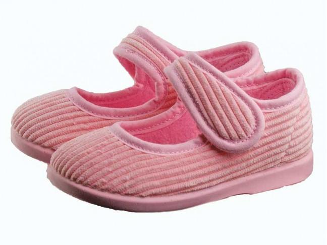 Zapatillas Casa Niña Merceditas Velcro Pana rosa claro