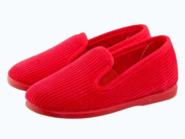 Zapatillas casa niños pana Rojo