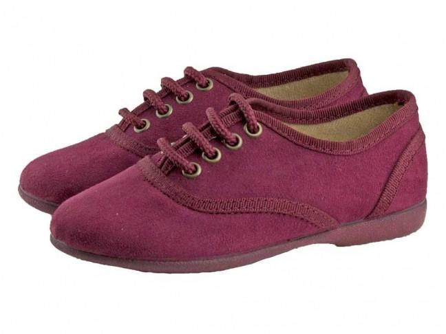 Zapatos blucher niños textil burdeos