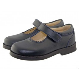 Zapatos Merceditas Colegiales Niña Velcro burdeos