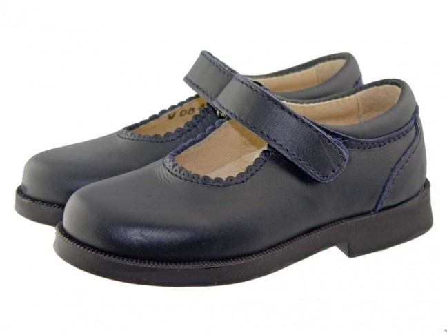 Zapatos Merceditas Colegiales Niña Velcro negro