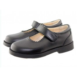 Zapatos Merceditas Colegiales Niña Velcro azul marino