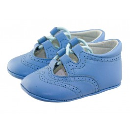 Zapatos inglesitos bebé piel azul