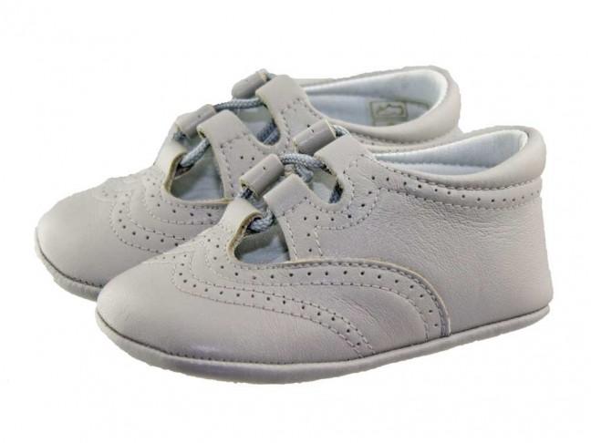 Zapatos inglesitos bebé piel gris