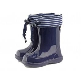Botas de agua niños Rayas marineras azul marino