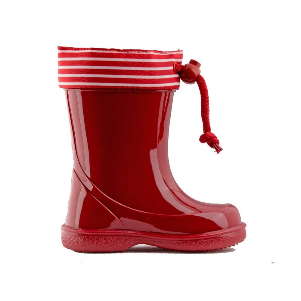 8155e53d014 Botas de agua niños Rayas marineras rojo
