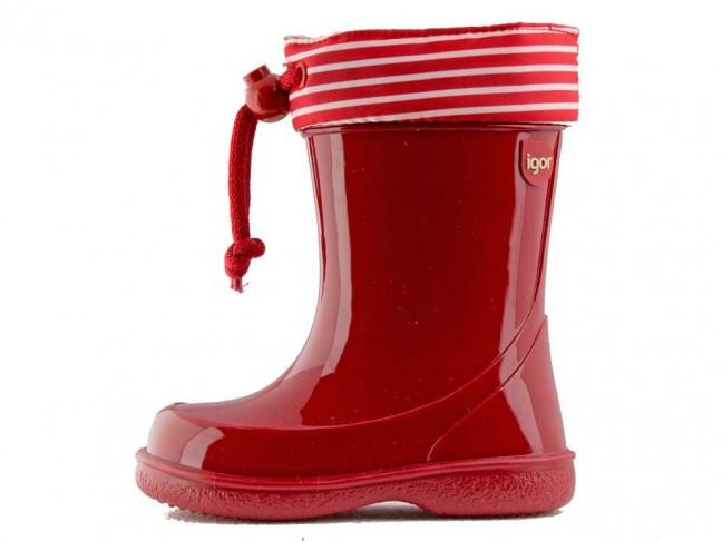 Botas de agua niños Rayas marineras rojo