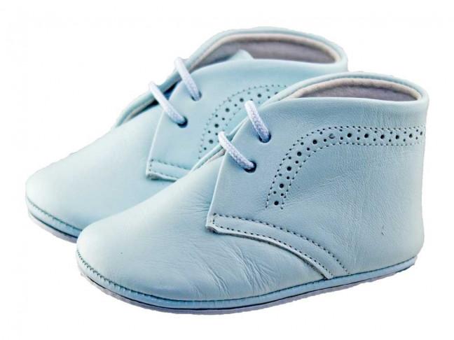 Botitas bebe piel azul