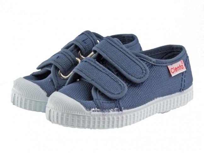 Zapatillas lona niños velcro azul