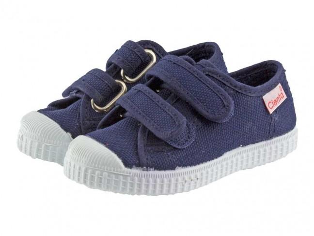 Zapatillas lona niños velcro azul marino