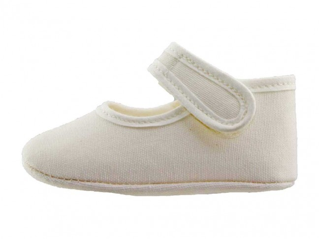 Merceditas bebé tela blanco