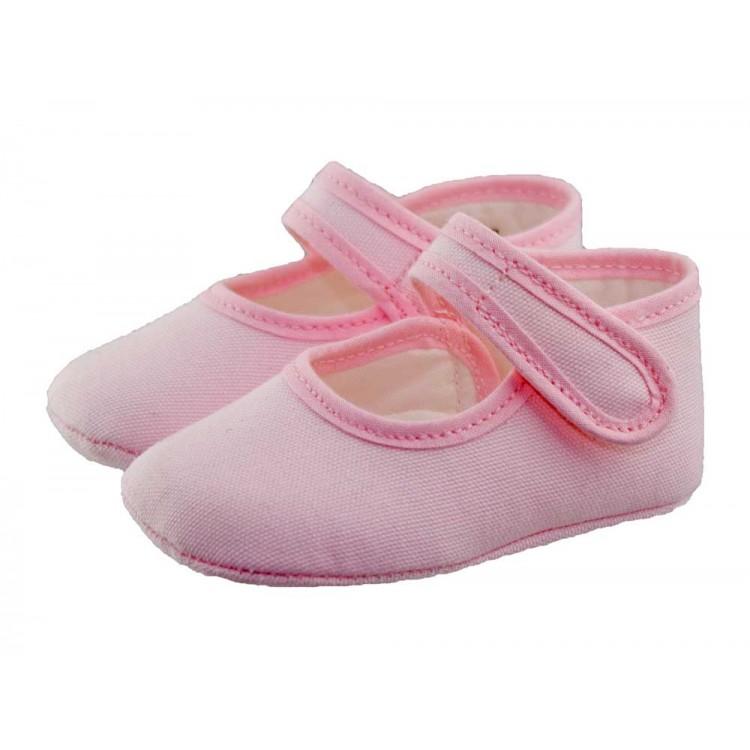 Merceditas bebé tela rosa claro