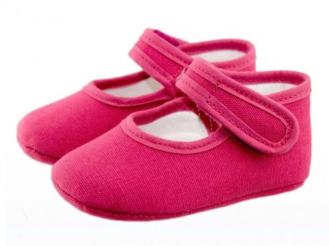 Merceditas bebé tela rosa