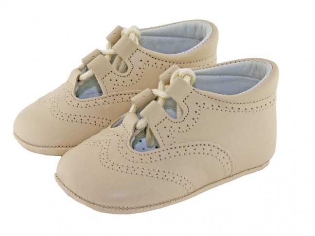 Zapatos inglesitos bebé piel beige
