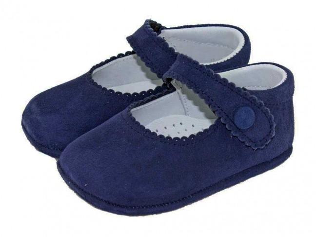 Merceditas Bebé Ante Boton Velcro azul