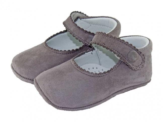 Merceditas Bebé Ante Boton Velcro gris