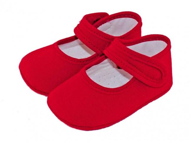 Merceditas bebé tela rojo