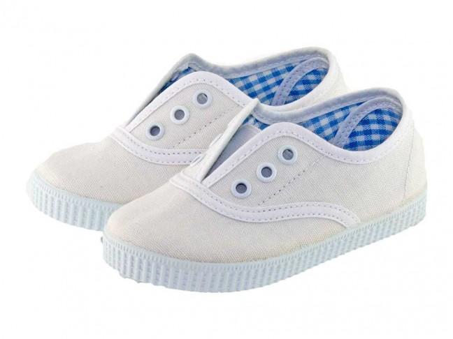 Zapatillas Bambas niño niña tipo Victoria con elástico blanco