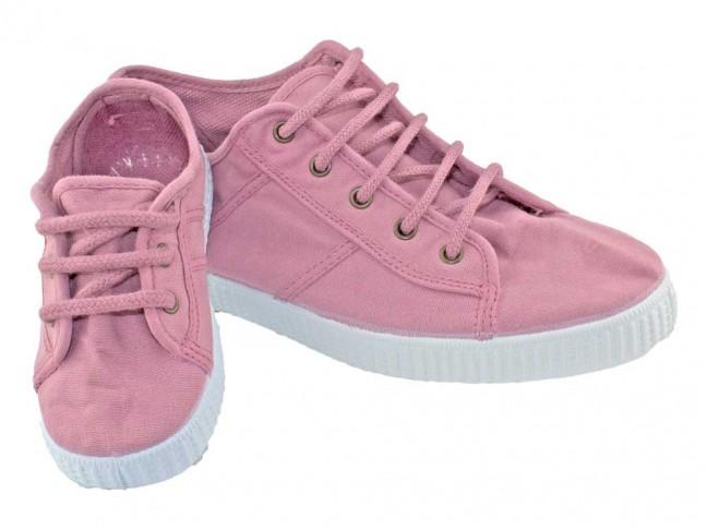 Zapatillas niño niña lona tintada rosa viejo
