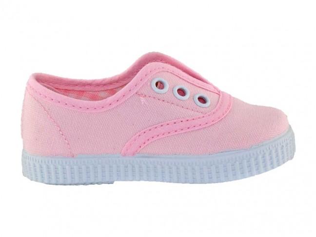 Zapatillas Bambas niños tipo Victoria con elástico rosa