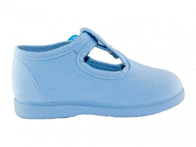 Pepitos niños lona hebilla azul bebe