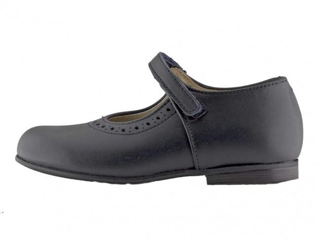 Zapatos Colegio Merceditas Niña Tira Fina Velcro azul marino