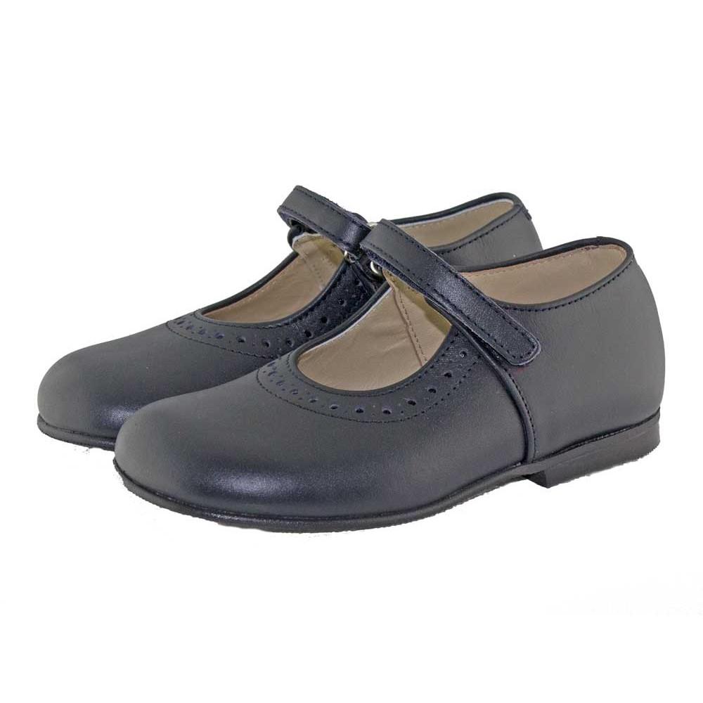 44c758aca9c Zapatos Colegio Merceditas Niña Tira Fina Velcro azul marino