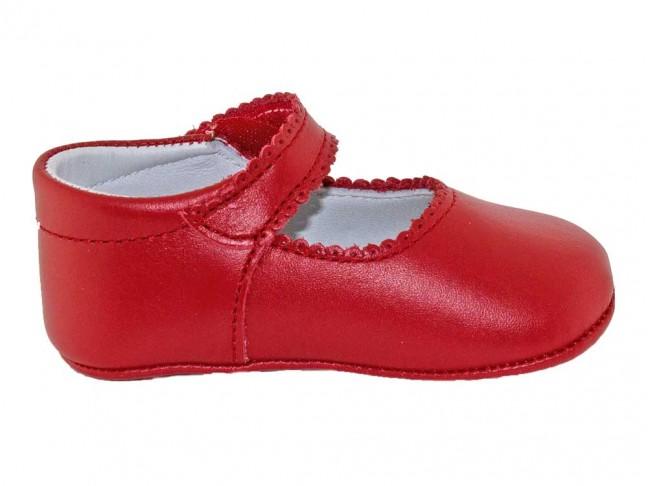 Merceditas bebe piel botón velcro rojo