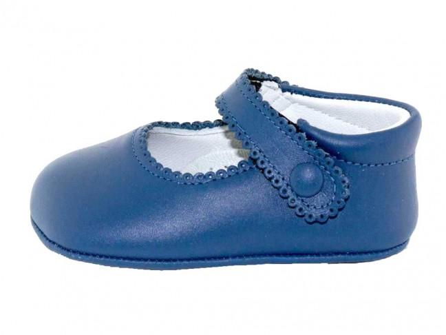 Merceditas bebe piel botón velcro azul francia