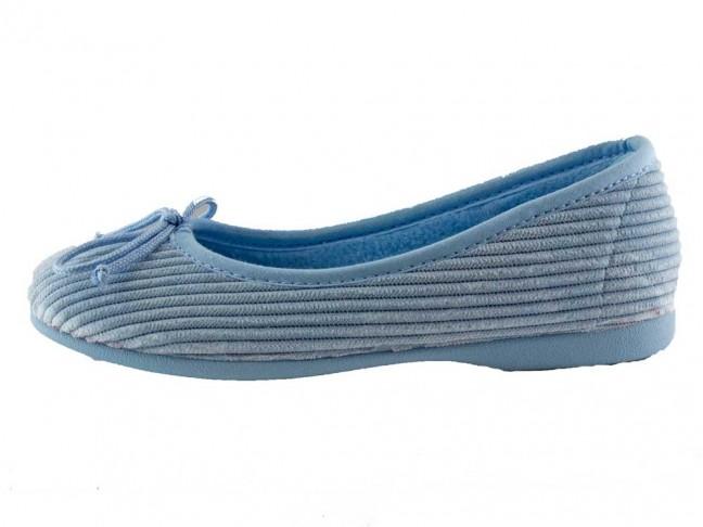 Zapatillas de casa tipo Bailarinas pana azul claro