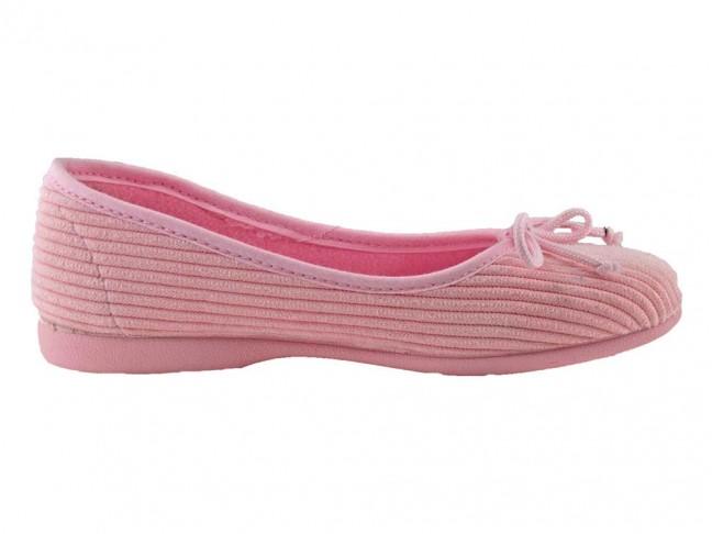 Zapatillas de casa tipo Bailarinas pana rosa claro