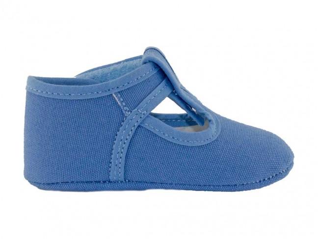 Zapatos Pepitos Bebe Tela azul francia
