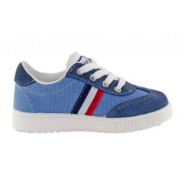 Zapatillas lona niño niña Rayas azul