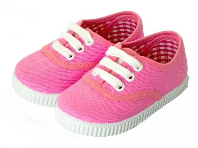 Zapatillas Bambas niño niña Cordones Vichy rosa fucsia