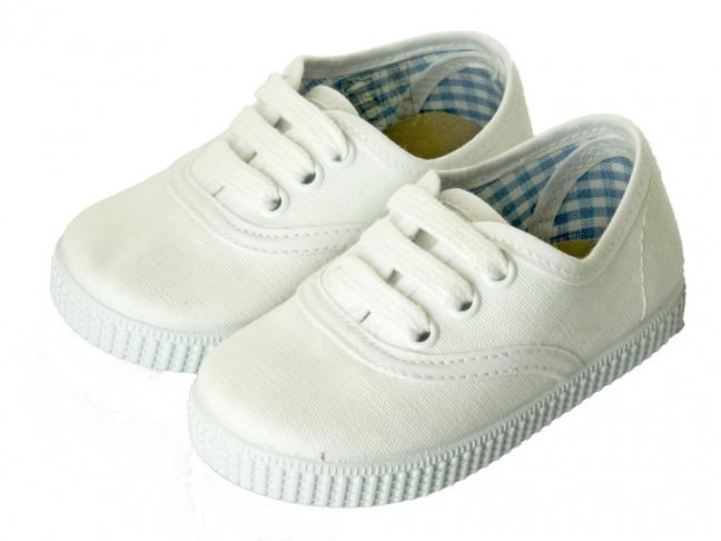Zapatillas Bambas niño niña Cordones Vichy blanco