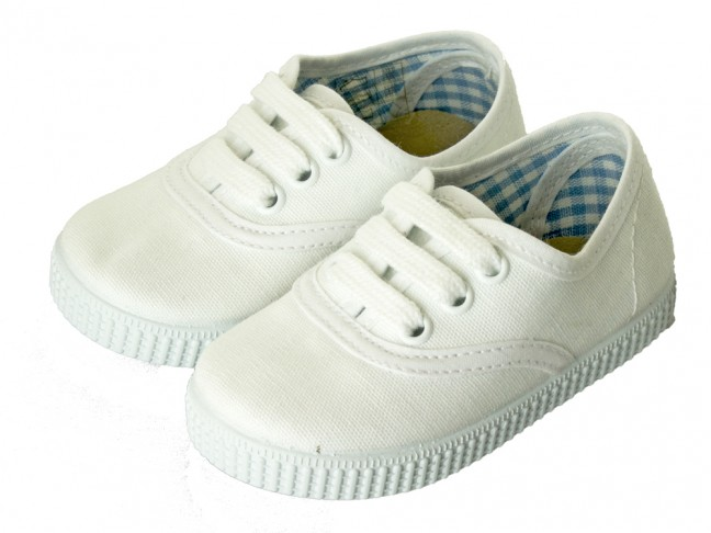 Zapatillas Bambas niño niña Cordones Vichy blanco online