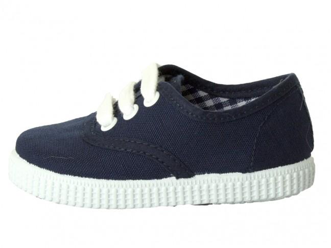 Zapatillas Bambas niño niña Cordones Vichy azul