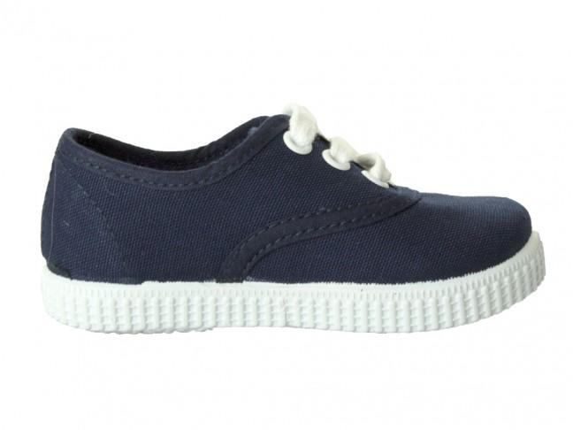 Zapatillas Bambas niño niña Cordones Vichy azul marino
