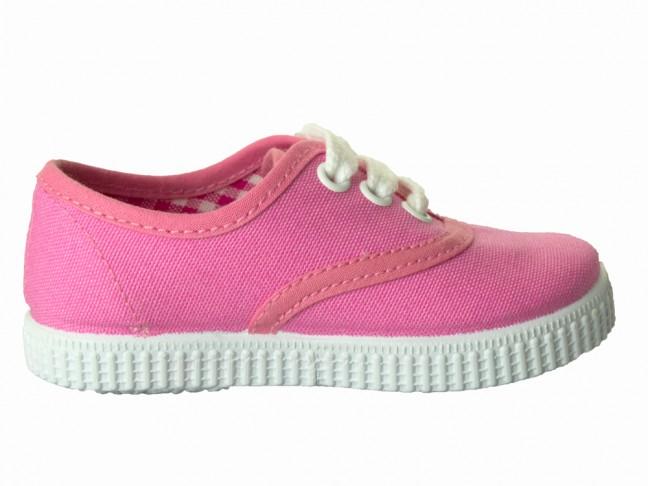 Zapatillas Bambas niño niña Cordones Vichy rosa