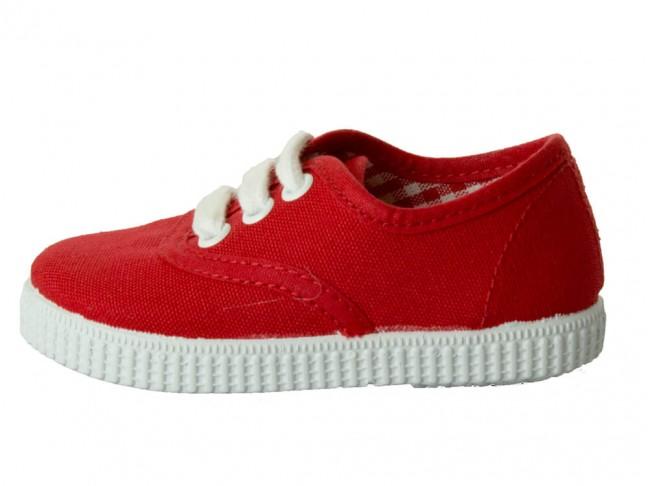 Zapatillas Bambas niño niña Cordones Vichy rojo