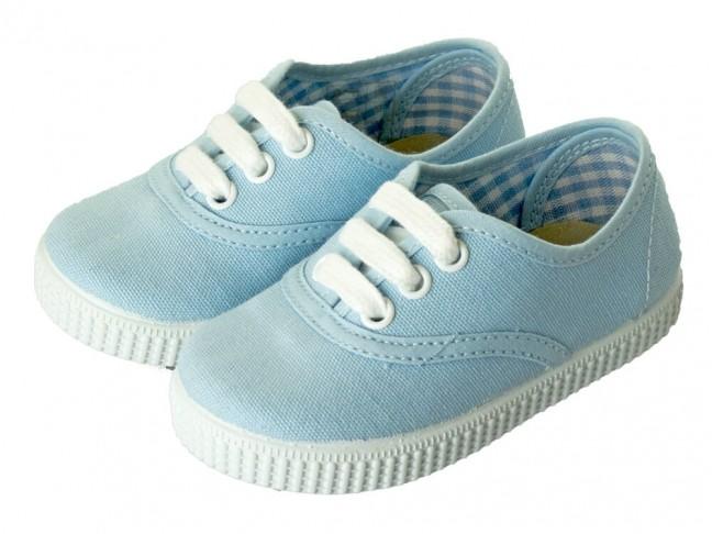 Zapatillas Bambas niño niña Cordones Vichy azul claro