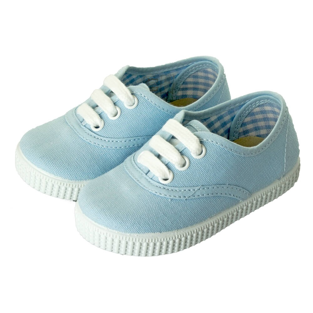355c89367d2a9 Zapatillas Bambas niño niña Cordones Vichy azul bebe