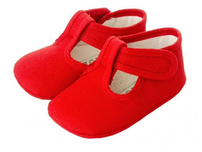 Zapatos Pepitos Bebe Tela rojo