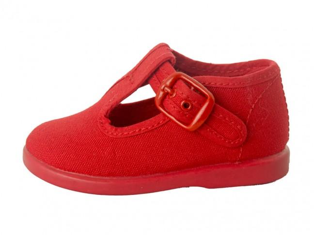 Pepitos niños lona hebilla rojo