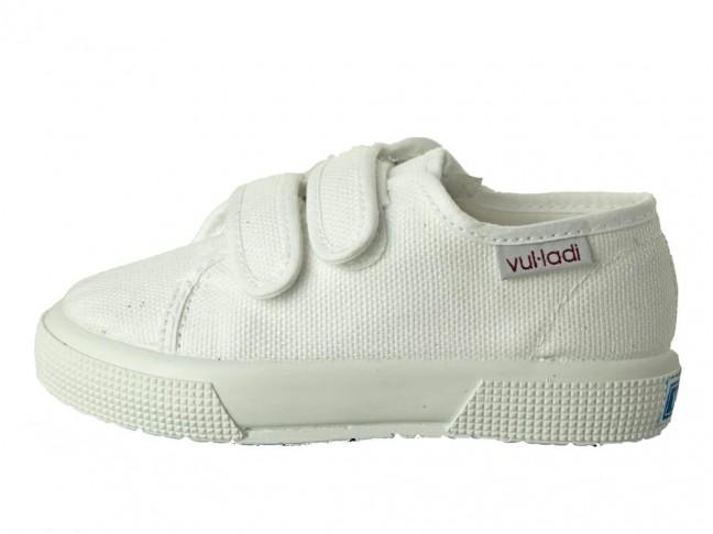 Zapatillas lona niño niña suela ancha blanco