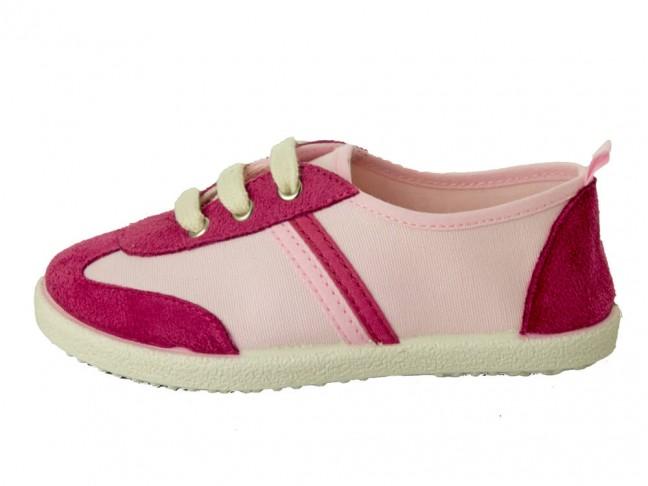 Zapatillas lona y serraje niño niña rosa claro