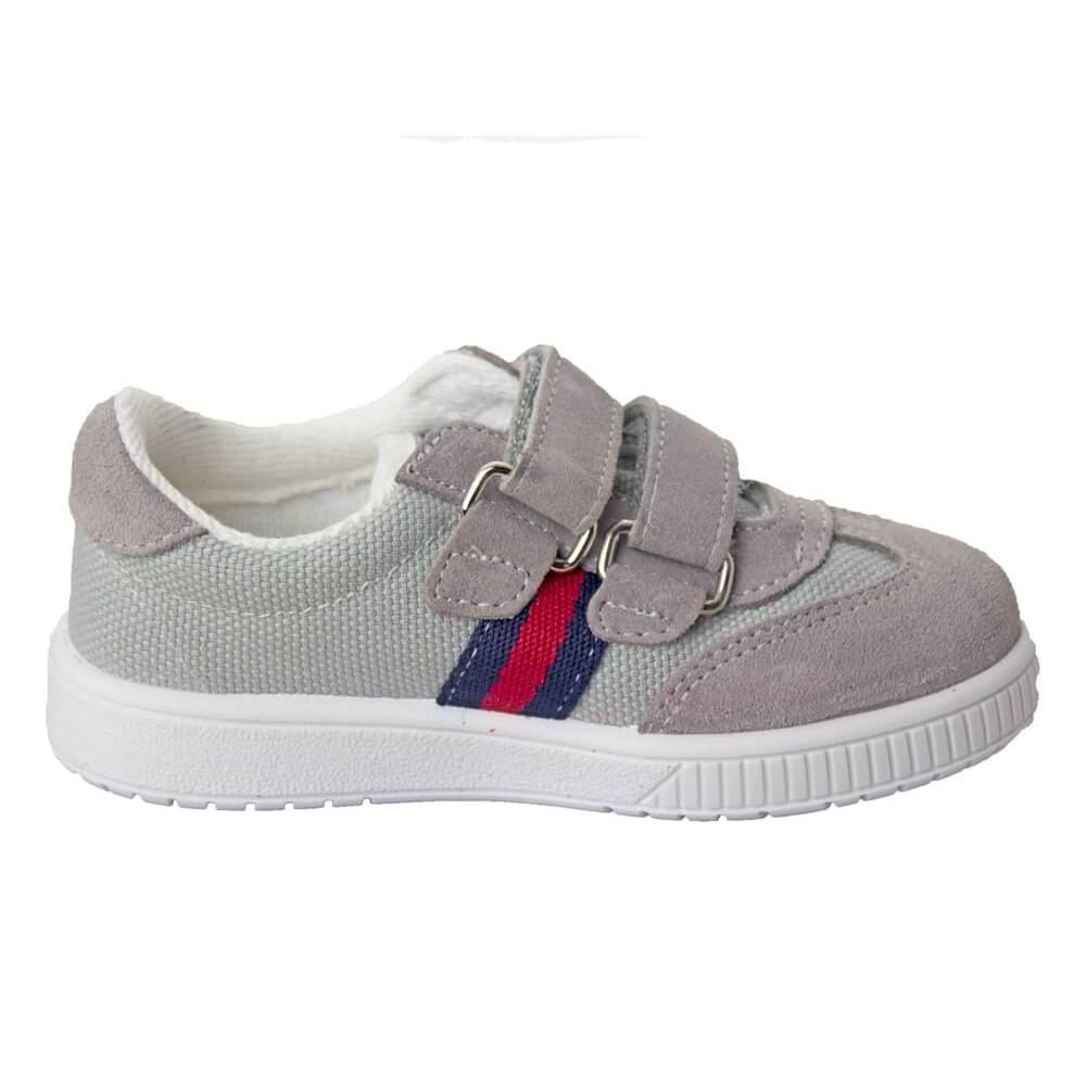 458e23cb7 Zapatillas lona niño y niña Rayas velcro gris claro