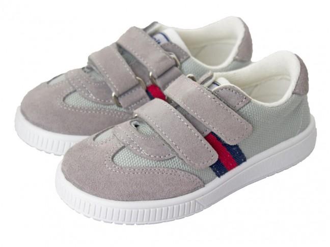d5ad210b6 Zapatillas lona niño y niña Rayas velcro gris claro