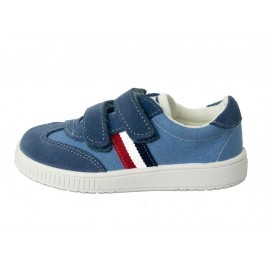 Zapatillas lona niño y niña Rayas velcro azul