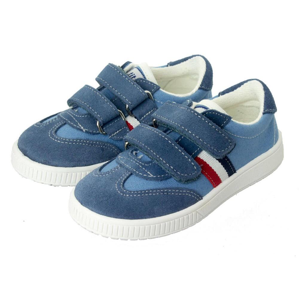 af624aab2 Zapatillas lona niño y niña Rayas velcro azul